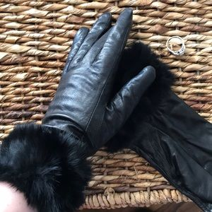 Genuine leather & fur gloves